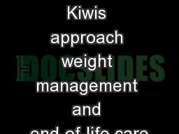 Kia Ora: How Kiwis approach weight management and end-of-life care