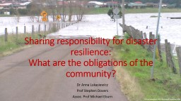 Sharing responsibility for disaster resilience: