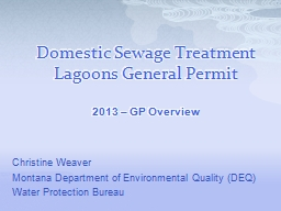 Domestic Sewage Treatment Lagoons General Permit