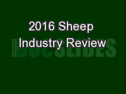 2016 Sheep Industry Review