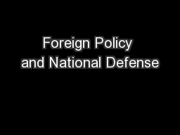 Foreign Policy and National Defense