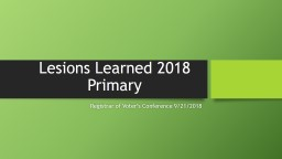 Lesions Learned 2018 Primary