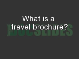 What is a travel brochure?