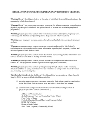RESOLUTION COMMENDING PREGNANCY RESOURCE CENTERS Where