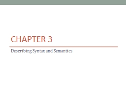 Chapter 3 Describing Syntax and Semantics