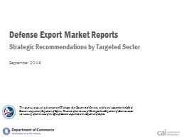 Defense Export Market Reports