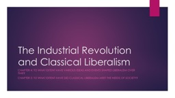 The Industrial Revolution and Classical Liberalism