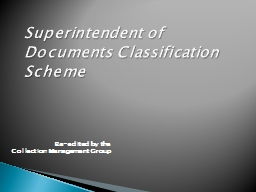 Superintendent of Documents Classification Scheme