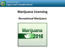 Marijuana Licensing Recreational Marijuana