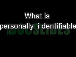 What is personally  i dentifiable