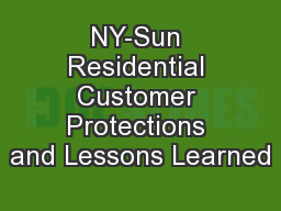 NY-Sun Residential Customer Protections and Lessons Learned
