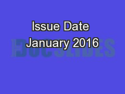 Issue Date January 2016