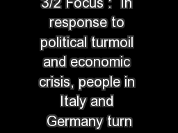 3/2 Focus :  In response to political turmoil and economic crisis, people in Italy and Germany turn