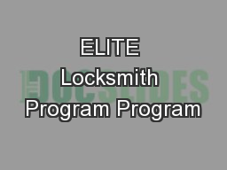 ELITE Locksmith Program Program