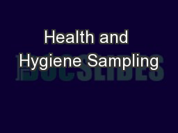 Health and Hygiene Sampling