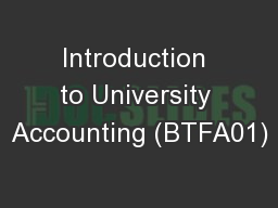 Introduction to University Accounting (BTFA01)