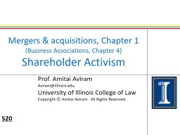 Mergers & acquisitions, Chapter 1