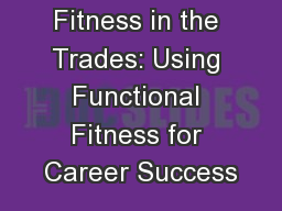 Fitness in the Trades: Using Functional Fitness for Career Success
