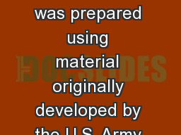 CREDITS:   This lesson was prepared using material originally developed by the U.S. Army Physical F