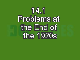 14.1 Problems at the End of the 1920s
