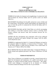 FORMATION OF AND TERMS OF REFERENCE FOR THE INDIAUNITE