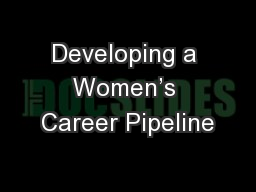 Developing a Women's Career Pipeline