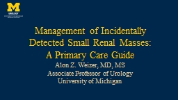 Management of Incidentally Detected Small Renal Masses: