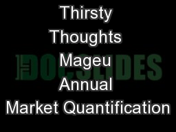 Thirsty Thoughts Mageu Annual Market Quantification