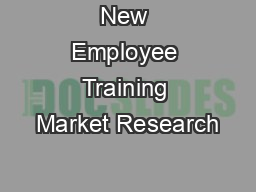 New Employee Training Market Research