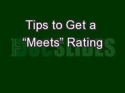Tips to Get a �Meets� Rating