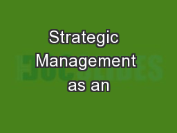 Strategic  Management as an