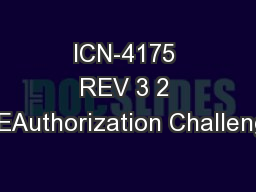 ICN-4175 REV 3 2 PREAuthorization Challenges