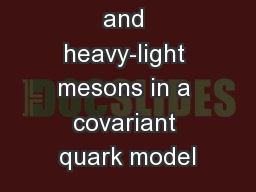 Quarkonia and heavy-light mesons in a covariant quark model