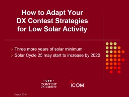 How to Adapt Your DX Contest Strategies                     for Low Solar Activity