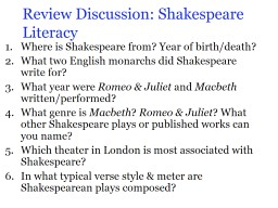 Review Discussion: Shakespeare