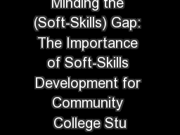 Minding the (Soft-Skills) Gap: The Importance of Soft-Skills Development for Community College Stu