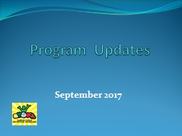 Program Updates September 2017