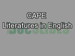 CAPE Literatures in English
