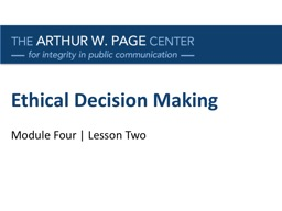 Ethical Decision Making Module