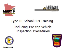 Type III School Bus Training