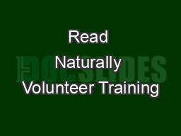 Read Naturally Volunteer Training PowerPoint PPT Presentation
