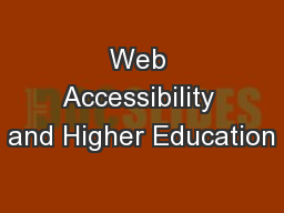 Web Accessibility and Higher Education