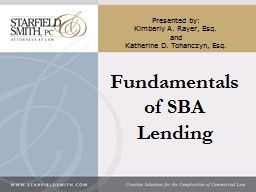 Fundamentals of SBA  Lending