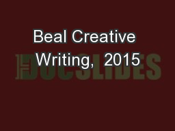 Beal Creative Writing,  2015