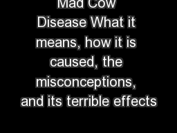 Mad Cow Disease What it means, how it is caused, the misconceptions, and its terrible effects