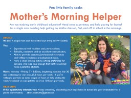 DETAILS We are: �A single mom and three little boys living in NW Seattle.