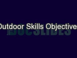 Outdoor Skills Objectives