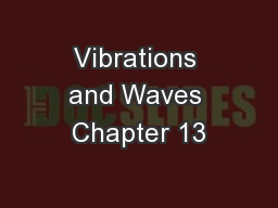 Vibrations and Waves Chapter 13