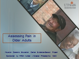 Assessing Pain in  Older Adults