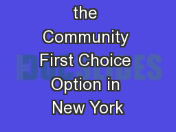 Implementing the Community First Choice Option in New York